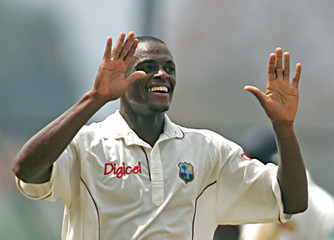 West Indies Powell celebrates wicket of Sri Lankan Wijekoon on first day of second test cricket ...