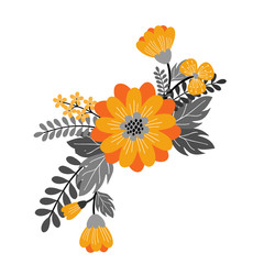 hand drawn vector floral composition with orange flowers for your design