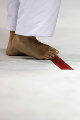 Competitor gets ready for a competition at the Karate-Do Championships in Tokyo