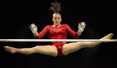 Memmel of US competes in Uneven Bars final at World Gymnastic Championships in Melbourne