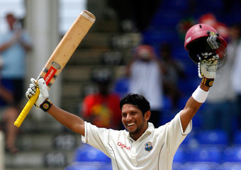 Sarwan of West Indies celebrates after completing his century in Basseterre
