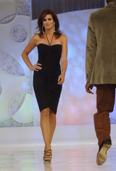 Supermodel Crawford models cocktail attire in 'Runway for Life' fashion show benefitting St. Jude Children's Hospital held in Beverly Hills