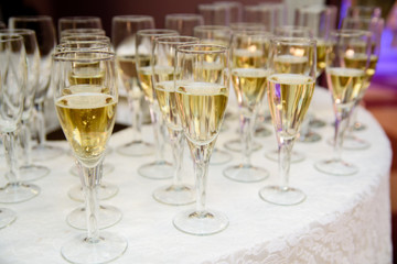 Arrangement of glasses with champagne.