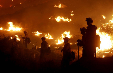 Hotshot crews hold the line the Sawtooth fire in Morongo Valley