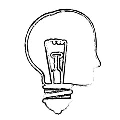 head with bulb light icon over white background. vector illustration