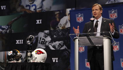 National Football League Commissioner Roger Goodell answers questions at a news conference in Tampa