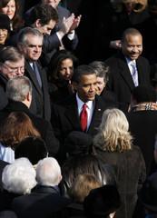 President-elect Barack Obama enters his inauguration ceremony in Washington