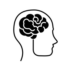 head with Human brain icon over white background. vector illustration