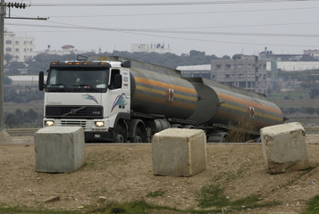 A fuel truck leaves the Karni Crossing between Israel and the Gaza Strip