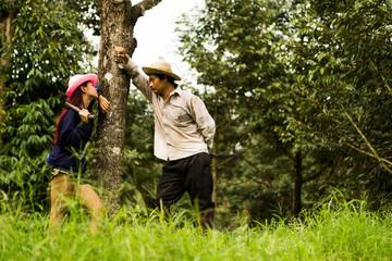 Asian farmer family mood good.
