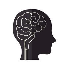 head profile with brain organ icon over white background. vector illustration