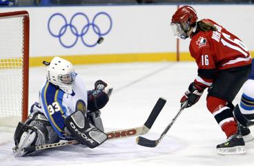 KAZAKHSTAN GOALTENDER BLOCKS CANADIAN SHOT IN OLYMPIC WOMENS ICEHOCKEY.