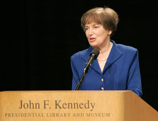 Brooksley Born, former chair of the Commodity Futures Trading Commission, speaks at the John F. Kennedy Presidential Library and Museum in Boston