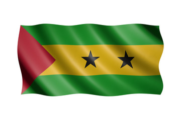 Flag of Sao Tome and Principe isolated on white, 3d illustration