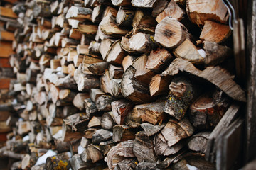 A stack of birch firewood - a natural background
