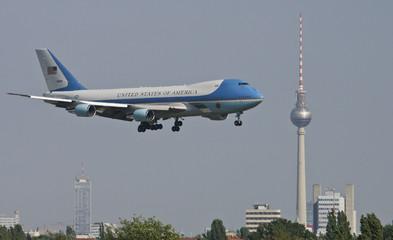 Air Force One carrying U.S. President George W. Bush, lands in Berlin