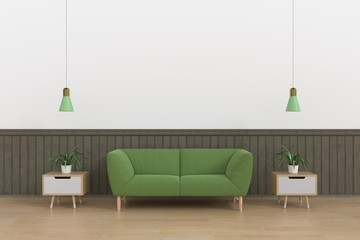 Modern interior of living room with green sofa on wooden floor and white wall ,3d rendering