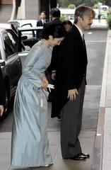 Japanese Prince Akishino and Princess Kiko arrive at the hotel for Princess Sayako's wedding in Tokyo