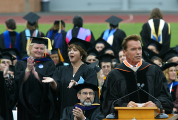 California Governor Schwarzenegger addresses graduates at Santa Monica College Commencement in Santa Monica.