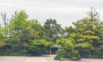 park view in Japanese temple, vintage filter image