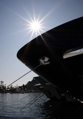 Luxury boats are moored in Monte Carlo port at the opening of the Monaco Yacht show