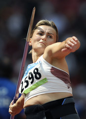 Madejczyk of Poland competes in the women's javelin throw qualifying round at the National Stadium during the Beijing 2008 Olympic Games