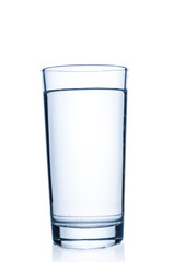 Glass with pure water on white background
