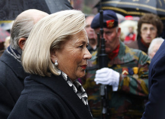 Belgium's Queen Paola arrives at the funeral of Princess Mathilde's father in Bastogne