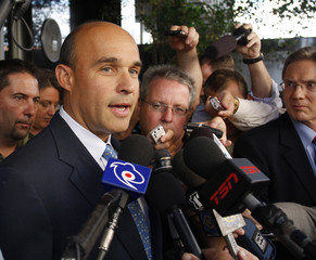 Canadian billionaire James Balsillie speaks to reporters as he leaves U.S. Federal Bankruptcy Court in Phoenix