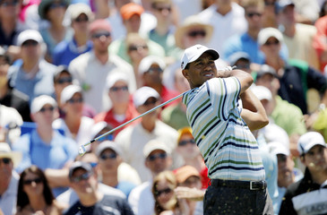 Tiger Woods of the US watches his tee shot on the third hole during third round play of The Players Championship at TPC Sawgrass in Ponte Vedra Beach, Florida.