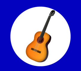 Isolated guitar on background. Icon with a guitar.