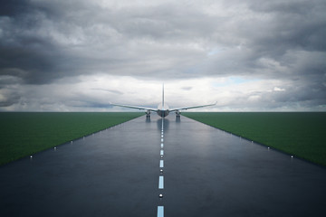 Fotomurales - Airplane on runway