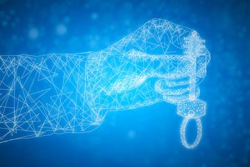 Polygonal hand holding key