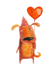 Dog with balloon heart. Watercolor illustration. Hand drawing