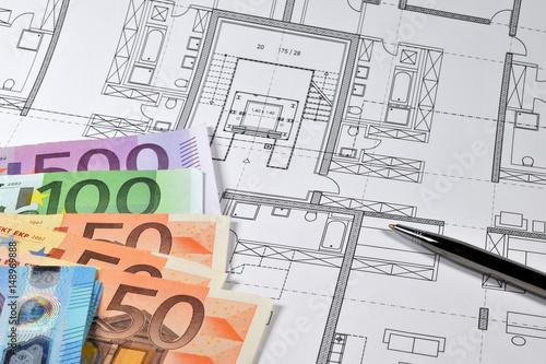 Bauzeichnung Geld Zeichnung Konstruktion Bauplan Architektur