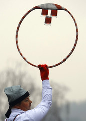 A man performs at the Lole parade, a traditional German event from the 17th century, in the Transylvanian town of Agnita