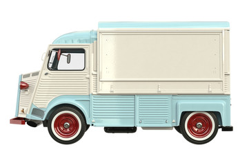 Food car retro style, side view. 3D rendering