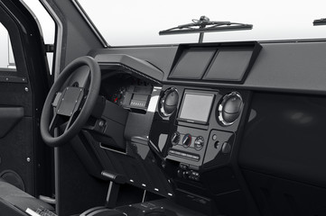 Car dashboard black plastic, close view. 3D rendering