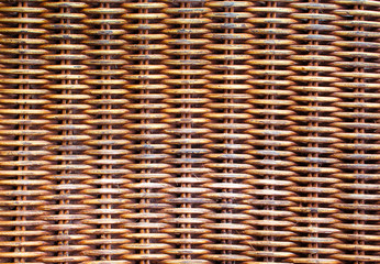 Wicker wooden background. Rattan woven top view closeup.