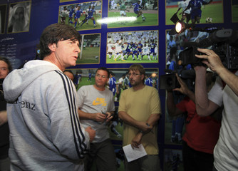 Germany's coach Loew talks to the media, ahead of their friendly match against the United Arab Emirates, at Al Nasr Stadium in Dubai