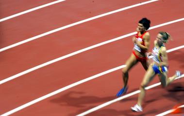 Spanish Martinez and Beligum's Stals compete during 800m heat at the European Indoor Athletics ...