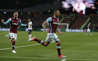 West Ham United's Manuel Lanzini celebrates scoring their first goal