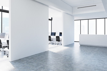 White open office and reception, side