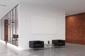 Office waiting area, brick