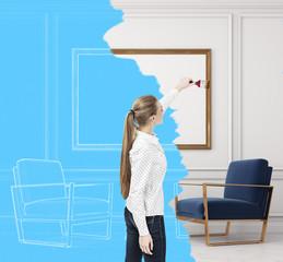 Woman and living room blueprint