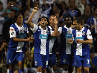 Porto's Garcia celebrates his goal against Nacional with team-mates during their Portuguese Premier League soccer match in Porto
