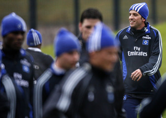 Hamburg SV's Dutch midfielder van der Vaart attends a training session in Hamburg
