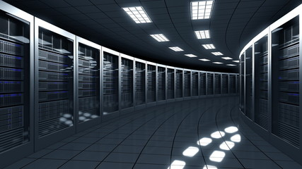 Modern server room. Information technologies, ISP, cloud services, data center or big online business concepts. 3D rendering