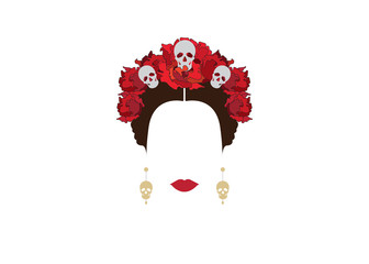 portrait of Mexican woman with skulls and red flowers, inspiration Santa Muerte in Mexico and Catrina, vector illustration isolated