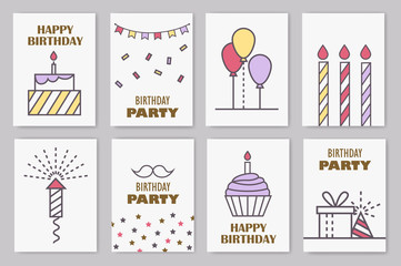Set of cute birthday cards. Linear design